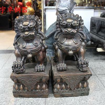 """20"""" A pair China old antique bronze copper foo dog palace gate lion Statues"""
