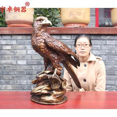 "24"" China old antique bronze copper Round seat Standing Eagle hawk Statues"