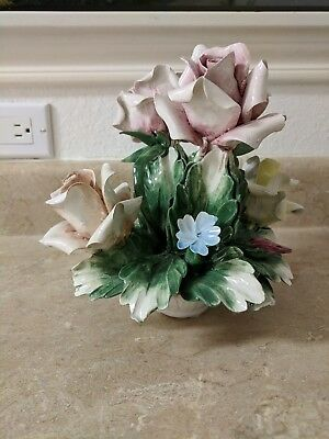 """Vintage Capodimonte Porcelain Basket of Flowers Made in Italy 7"""" height"""