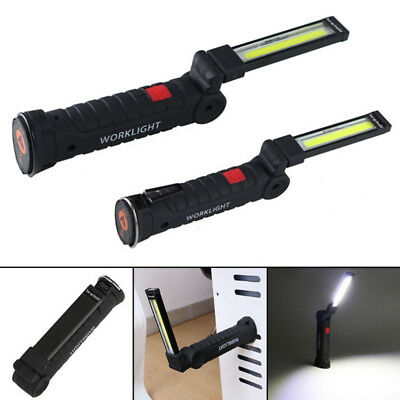 1*COB+LED Rechargeable Work Light Magnet Flashlight With Hook Folding Torch Lamp