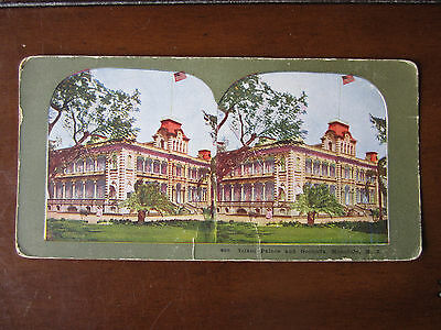 Hawaii printed Stereoview Iolani Palce & grounds, light bends at bottom center