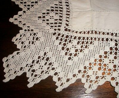 Table Topper /Tablecloth White Linen Hand Embroidered Centre Flower 12cm Crochet
