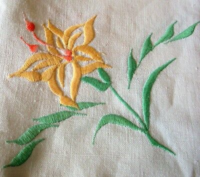 Vintage Linen Tablecloth Embroidered Yellow Hibiscus Flower