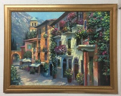 "52"" Beautiful Oil Painting With Frame  "" Village Hideaway"" Huge Size."