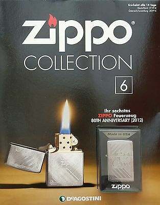 Zippo Collection Nr.6   80TH ANNIVERSARY (2012)  Sturmfeuerzeug  never fired !!!