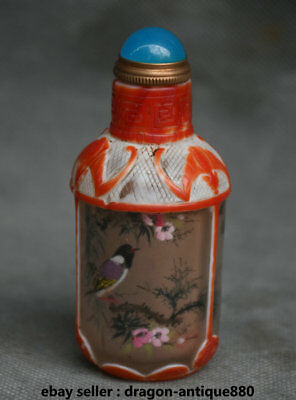 9CM Collect Old Chinese Palace Colored Glaze Painted Flower Bird Snuff Bottle