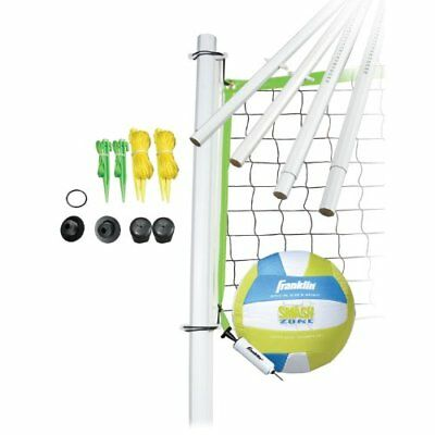 Outdoor Portable Volleyball Sports Set Backyard Net & Poles Beach Bag Ball Pump