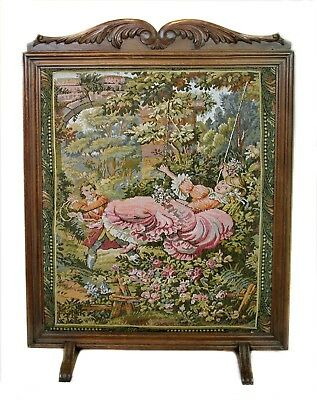 Antique 1900s Victorian European Needlepoint Embroidery Fabric Fireplace Screen