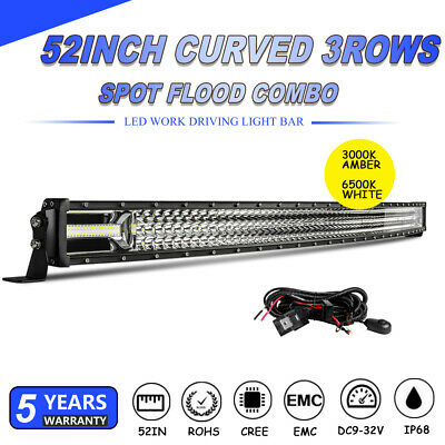 """52inch Curved Cree LED Light Bar Spot Flood Combo Beam Work Fog Driving 4WD 50"""""""
