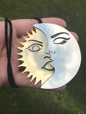 Artisan Handcrafted Sterling Silver Pendant Vintage HUGE Sun and Moon HEAVY