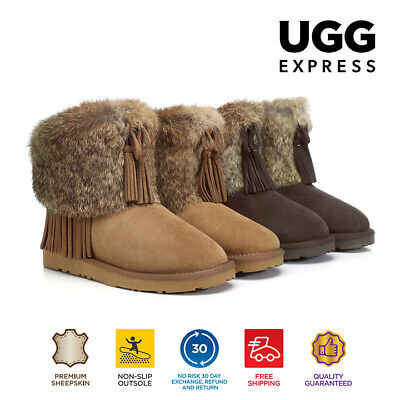 UGG Foxy, Double Face Sheepskin Anckle Boots Adorned With Rubbit Fur and Tassel