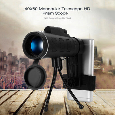 40X60 BAK4 HD Mini Monocular Telescope For Outdoor Camping with Phone Clip