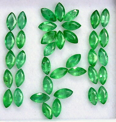 Natural Emerald Marquise Cut 5x2.50 mm Lot 40 Pcs 5.15 Cts Untreated Gemstones