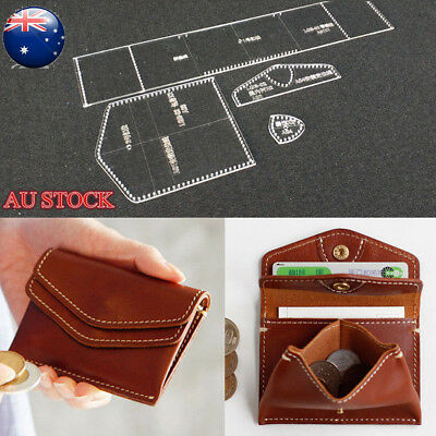 Mini Coin Purse Clear Acrylic Leather Craft Template Pattern Stencil Tool DIY