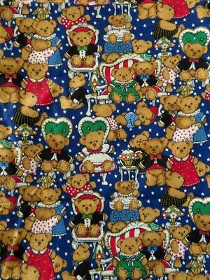 Teddy bear quilting material 1m. pieces Navy background TeddyTime by Fabri-Quilt