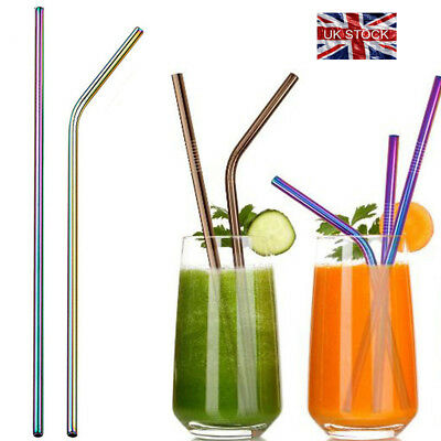 4x Stainless Steel Metal Drinking Bar Straws Straight Bent Straw Reusable Eco UK