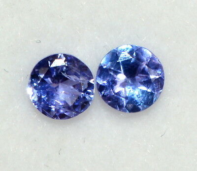 Certified Natural Tanzanite Round Cut 4 mm 0.51 Cts Pair Lustrous Blue Gemstones