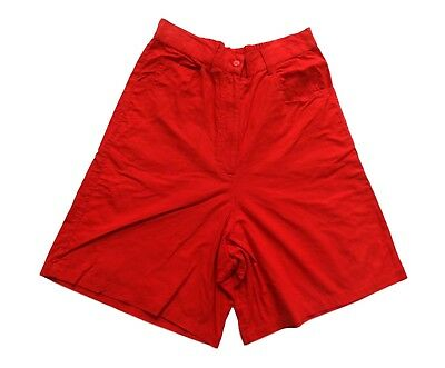 Women's Ladies Vintage 80's Red High Waisted Cotton Shorts Retro Boho 8