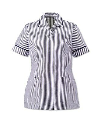 Womens Lightweight Stripe Tunic, Concealed Zip Front, Colours Available. Ins37