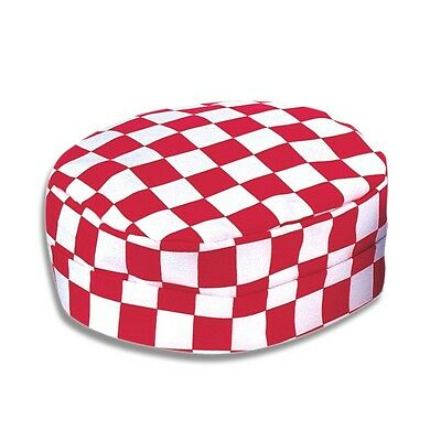 Chefs Skull Cap Round Hat. Red & White Chessboard Print Bakers Cook Ins13Rch