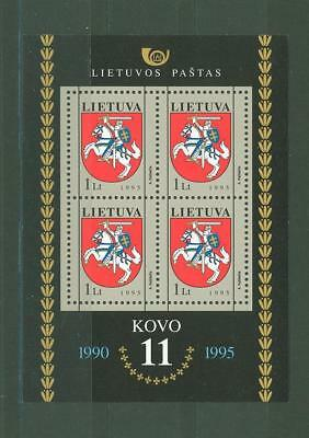 Lithuania F47 MNH 1995 s/s Coat of Arms Horse Rider