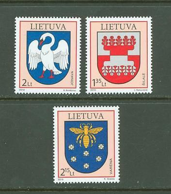 Lithuania F67 MNH 2010 3v Coat of Arms Birds Insects
