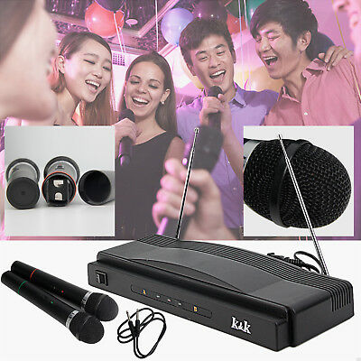 Wireless Microphone Professional System Cordless Receiver Dual Handheld 2 x Mic