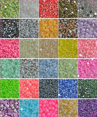 2-14mm AB color Half Pearl Round Bead Flat Back Scrapbook for Craft FlatBack #03