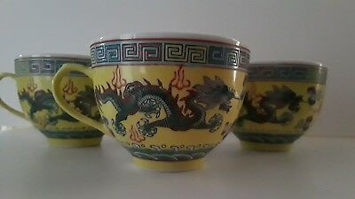 Vintage Yellow Famille Rose Good Luck Dragon Coffee/Tea Cup w/Handle Set of 3