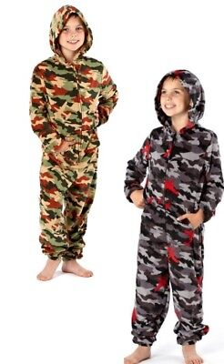 Boys Camouflage Design Zipped Cosy Fleece Hooded All-In-One - In 4 Kids Sizes