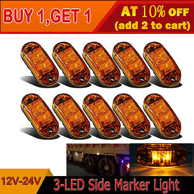 10x Amber LED Side Marker Light Car Truck Trailer Boat Lorry Van Pickup 12V 24V