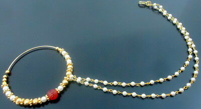 Red White Pearl Gold Tone Bollywood Indian Nose Ring Nath Bridal Wedding Jewelry