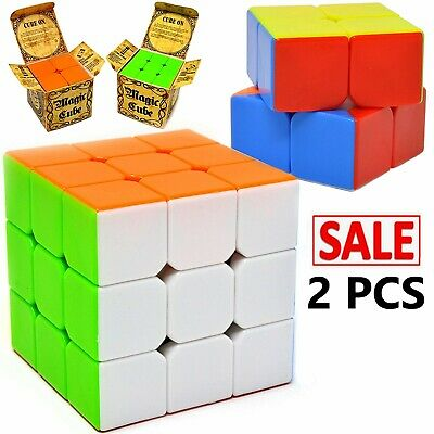 3 Pcs Rubiks Cube Speed Puzzle Magic 2x2 3x3 4x4 Kids Toy Game Gift Stickerless