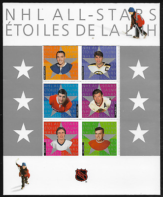 Canada Stamps — Full Pane of 6 in Cover — NHL All Stars - 2003 —  #1971 — MNH