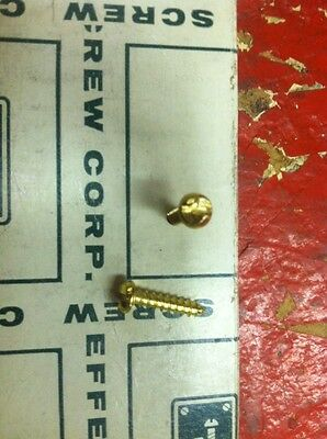 """LOT OF 100-# 8 x 3/4"""" Pan Head One Way ScrewS ~ BRASS PLATED-MADE IN U.S.A."""