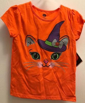 Halloween Baby Girl Toddler 3T 4T 5T Orange T-Shirt CAT Face Witch Hat NWT
