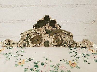 Striking Antique French Carved Pine Crest & Finials C1900 Original Chippy Paint