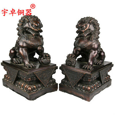 """17"""" A pair China old antique red copper foo dog lion ball palace gate Statues"""