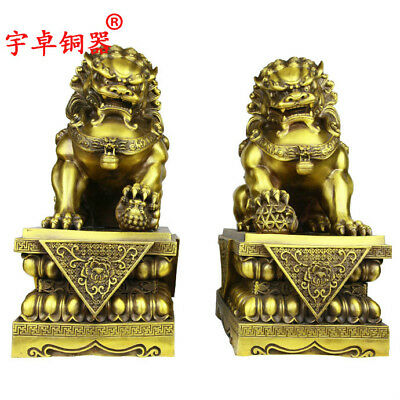 """17"""" A pair China old antique brass foo dog lion ball palace gate Statues"""