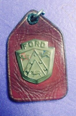 Rare Antique Goldtone Ford Keychain 3 Lions Red White Blue Shield leather