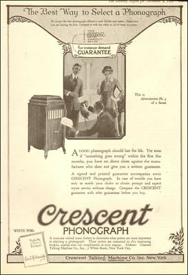 1920 vintage AD for CRESCENT Phonographs hand crank Guaranteed! Rare! 090718