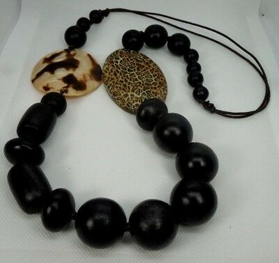 Vintage Animal Print Beads With Chunk Wood Beads Statement Necklace