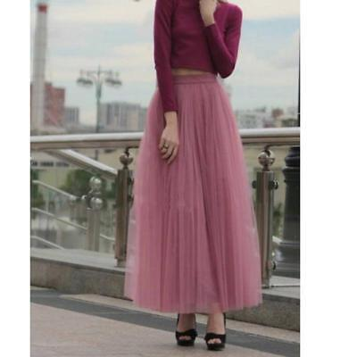 Vintage Women Tulle Skirts Multi Layers Ankle Length Long Prom Party Maxi Skirt