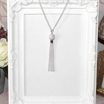 Vintage/flapper/1920's long silver necklace with Sparkledust bead & chain tassel
