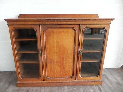 Victorian Three Door Solid Oak Cabinet/Bookcase C.1880