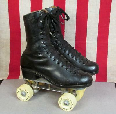 Vintage Riedell Black Leather Roller Skates Sure Grip Belair Olympian Wheels sz6