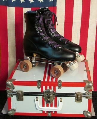 Vintage Chicago Black Leather Roller Skates Kwitite Fo-Mac Wheels Nice Case Sz.8