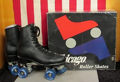Vintage Chicago Mens Roller Skates Chicago Urethane Wheels Sz.10 w/ Store Box