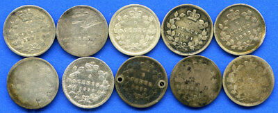 10 Piece Lot Mixed Date Victoria Sterling Silver Canadian 5 Cent Canada Coin