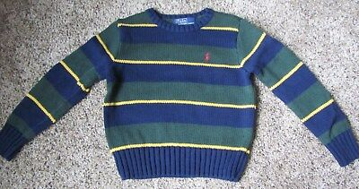 Boys Ralph Lauren Crewneck Sweater - Green with Blue Stripes; Size 3/3T; MINT!
